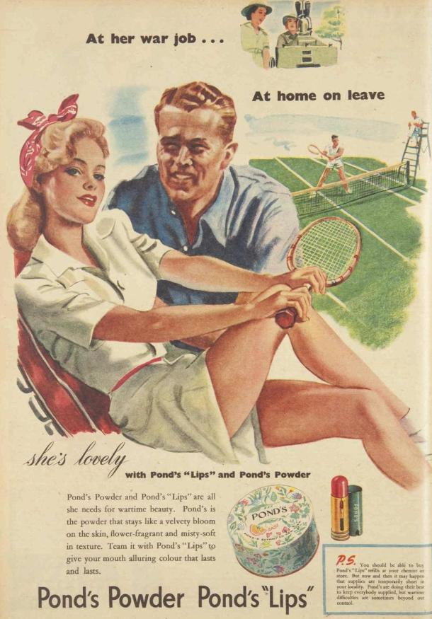 Vintage Ponds makeup ad, 1944