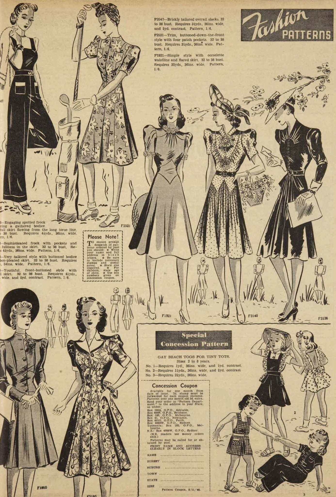 fashions from 1940
