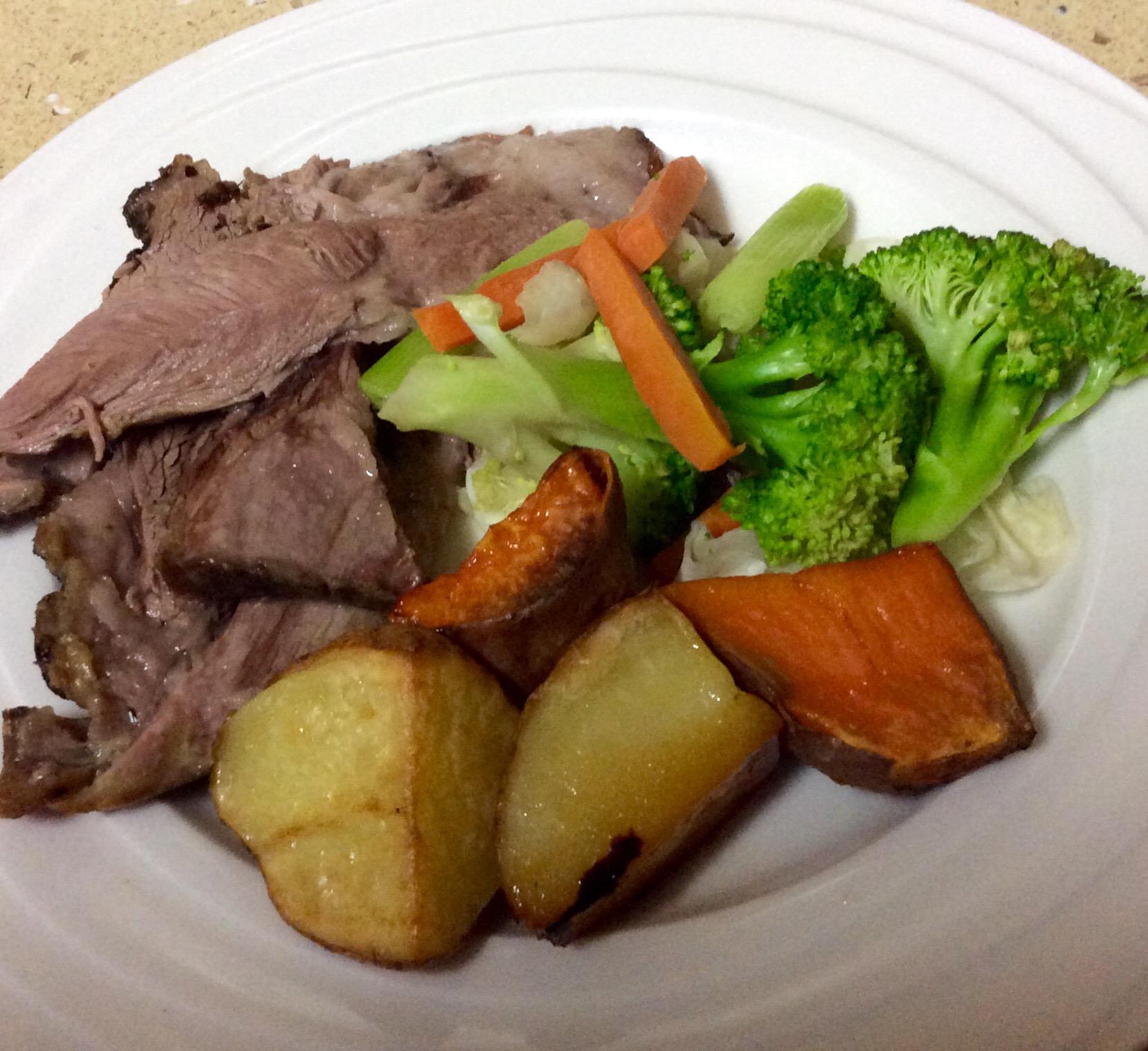 slow roasted shoulder of lamb and veg, wartime food