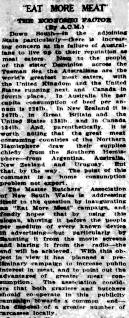 Meat eating facts from the Longreach Leader, February 1939