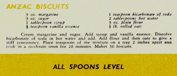 the Miniistry of Food's recipe for  Anzac Biscuits