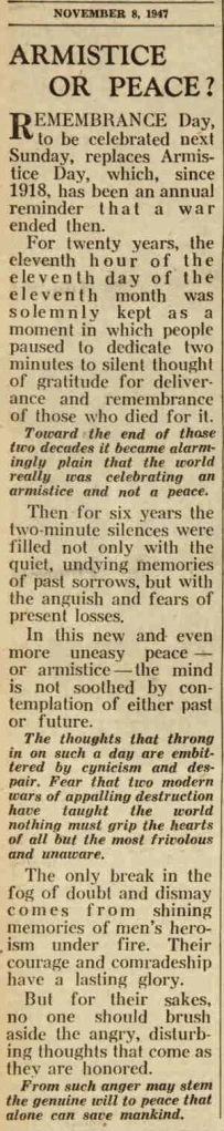 peace or armistice after WWII?