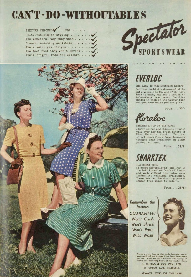 vintage wartime fashion ad 1939