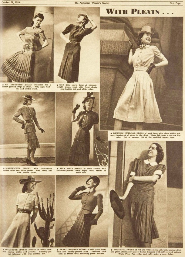 calf length pleated dressses october 1939