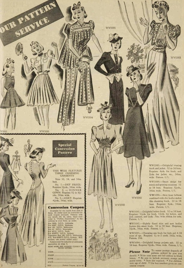 patterns to sew at home october 1939