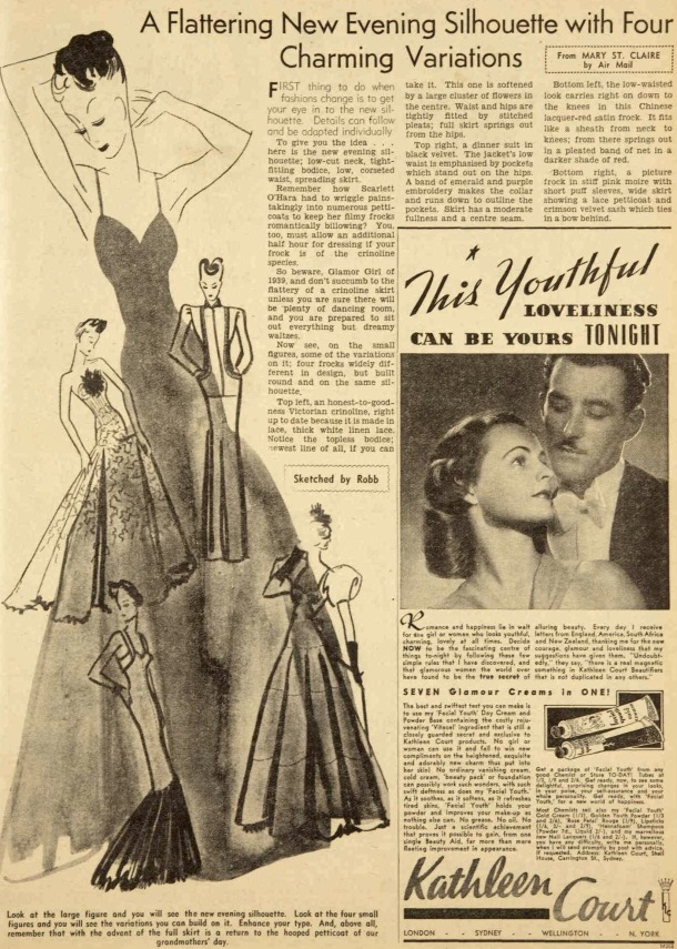 Long full dresses for evenin were all the rage in 1939