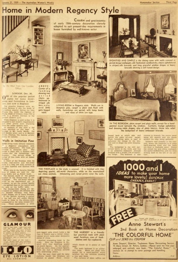 Vintage 1930s prewar decorating and furnishing  ideas for the modern regency style