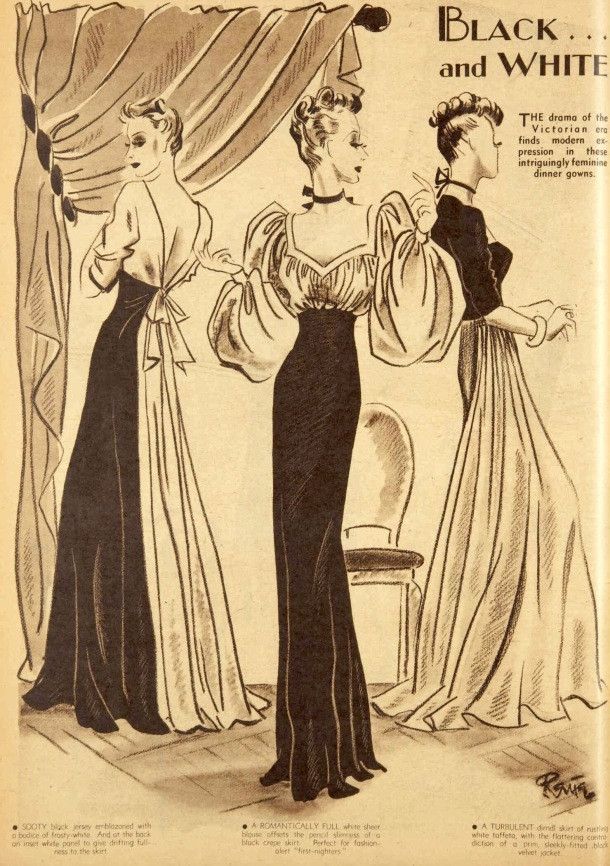 Black and white vening dresses 1939