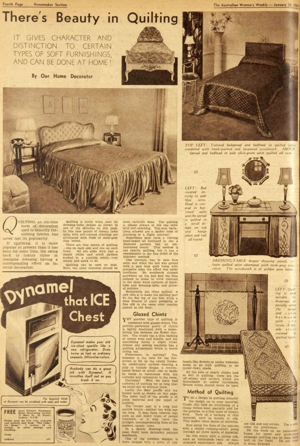 Vintage 1930s prewar decorating ideas with quilting 1939
