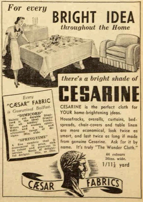 Vintage 1930s prewar ad for furnishing fabric