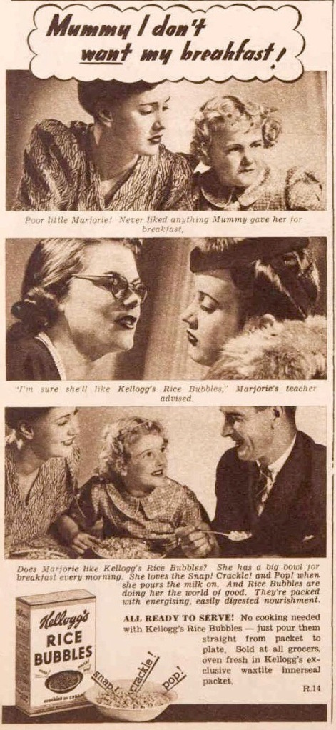 Rice bubble ad from 1940
