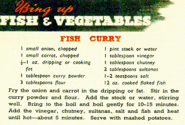 wartime ministry of food recipe for fish curry