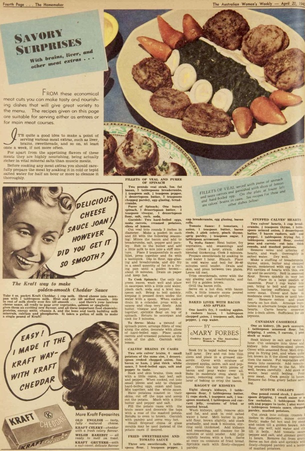 1940s recipes including baked liver