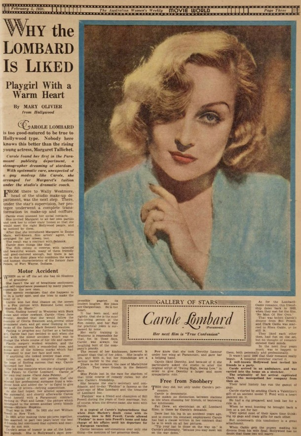 Why Carole Lombard is liked, 1938