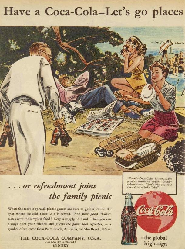 Vintage 40s 1945 Coca cola ad