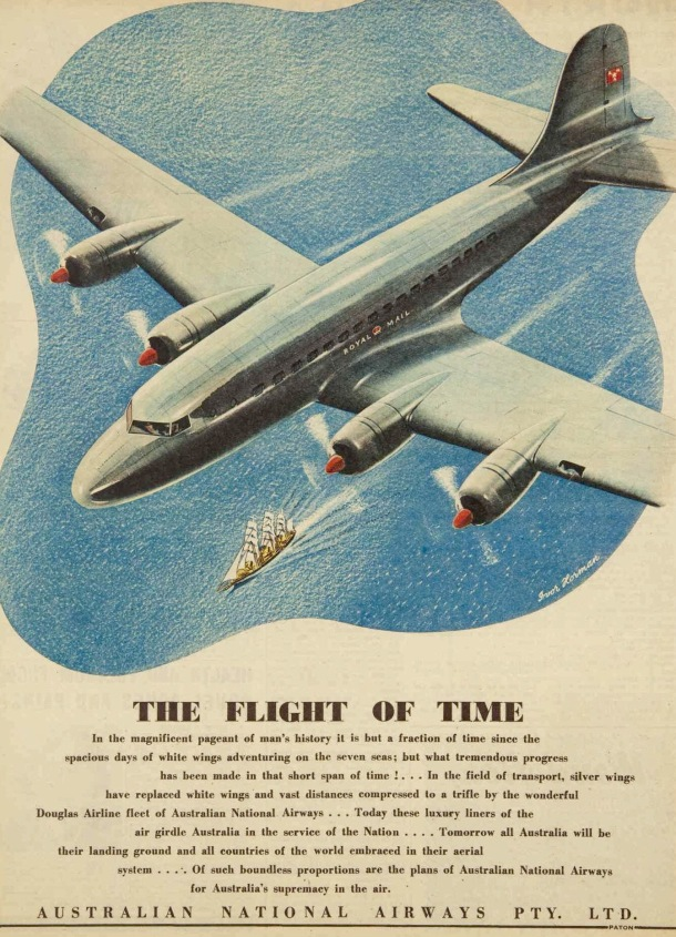 Vintage 40s 1945 Australian airways ad