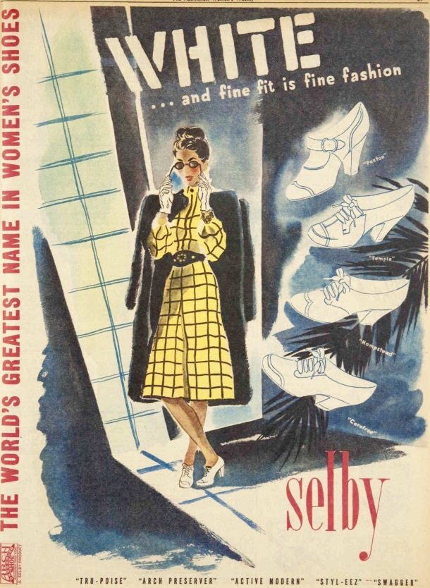 Vintage 40s 1945 Shalby shoes ad