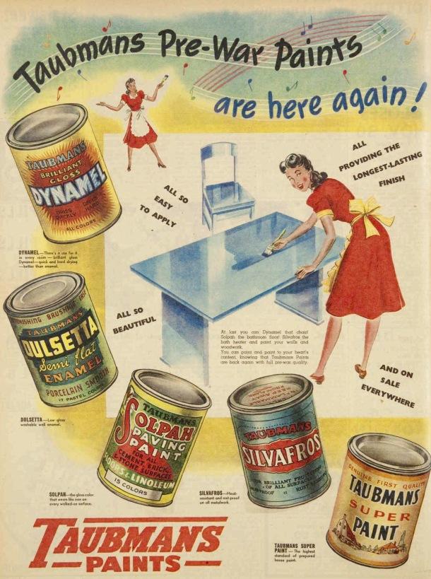 Vintage 40s 1945 Taubmnas Paint ad