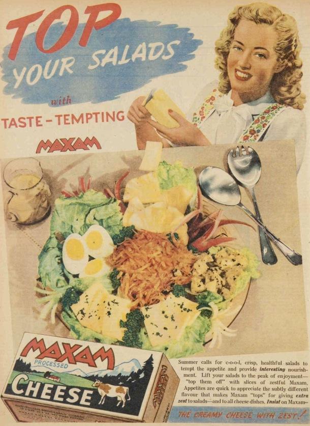 Vintage 40s 1945 Maxim cheese ad