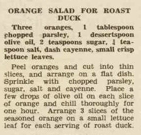 1940 recipe for orange salad to accompany roast duck