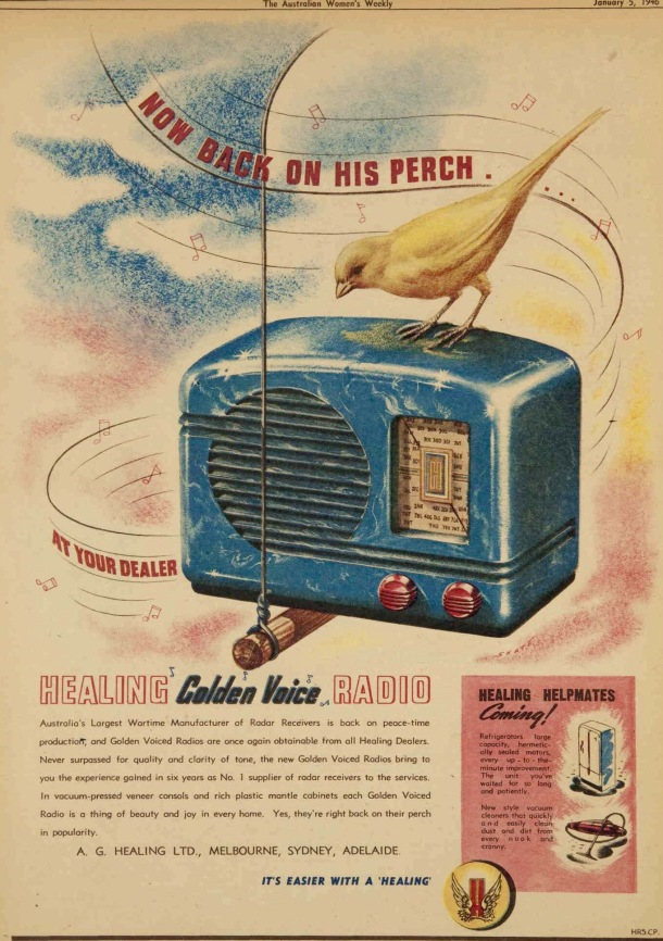 post war radio ad 1946 with canary