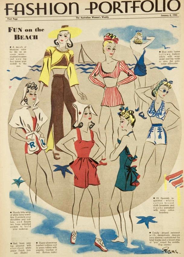 Beach fashions 1940