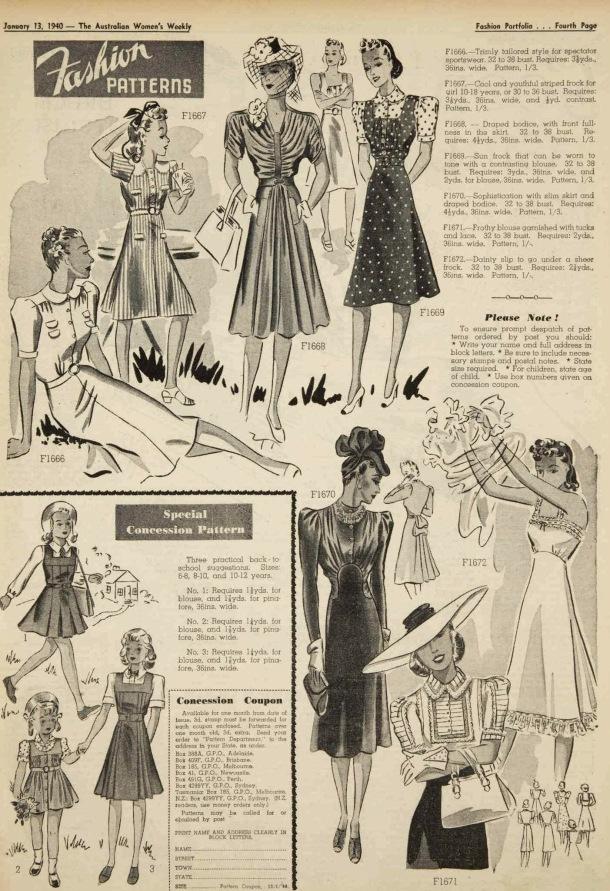 fashion patterns 1940