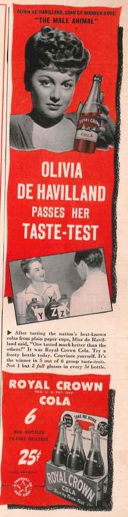 olivia de haviland cola ad 1940s 1942
