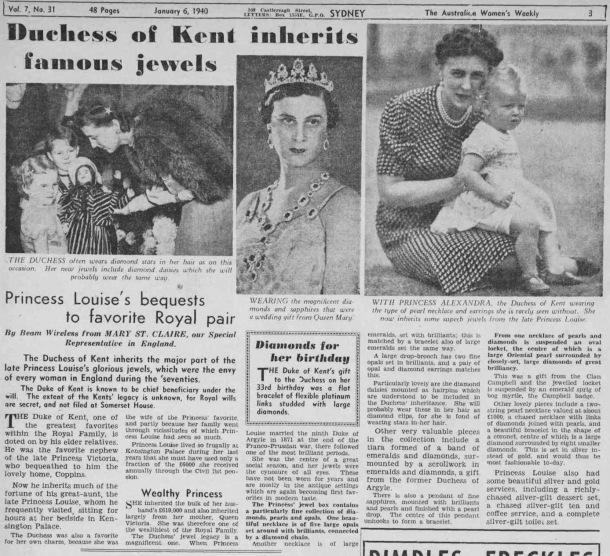 the duchess of kents inherits diamonds and jewells in 1940