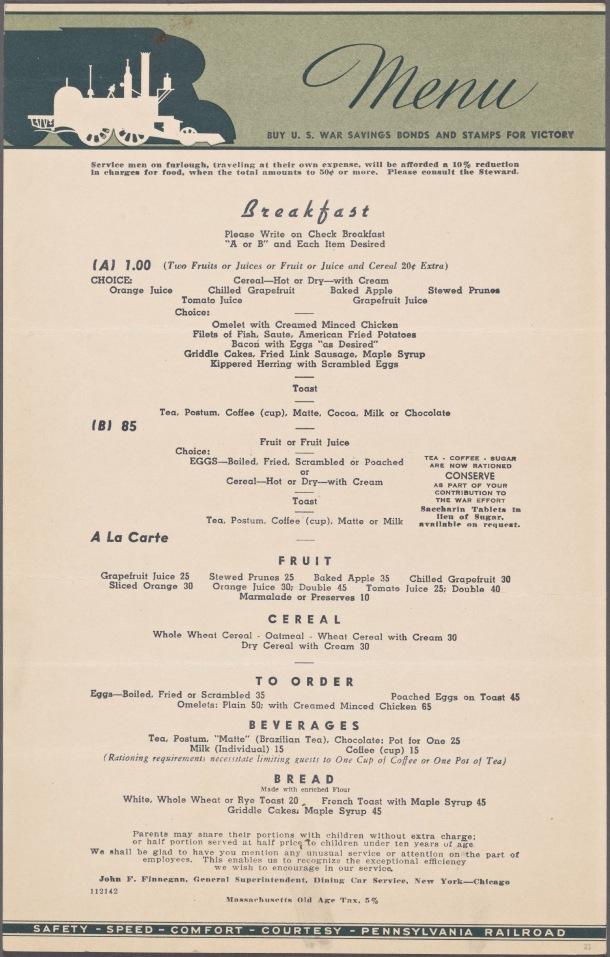 vintage 1940s menu