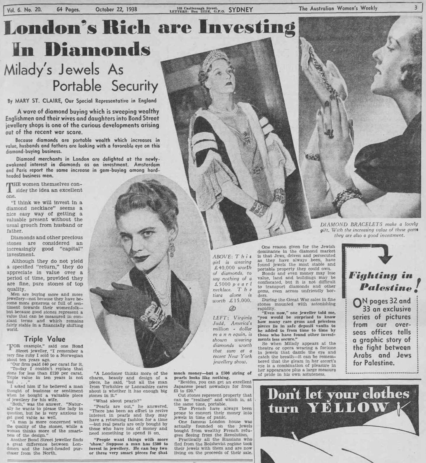 Vintage clothes fashion ads of the 1940s page 22 -  Londons Rich Investing In Diamonds 1938