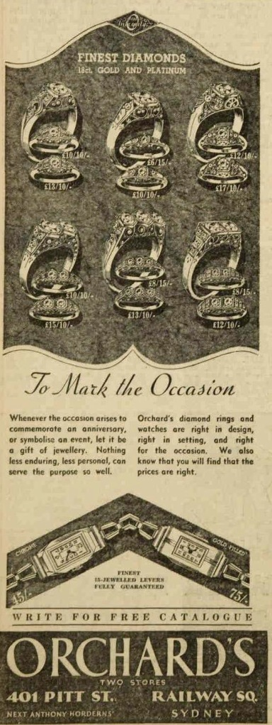 diamond ring ad 1938