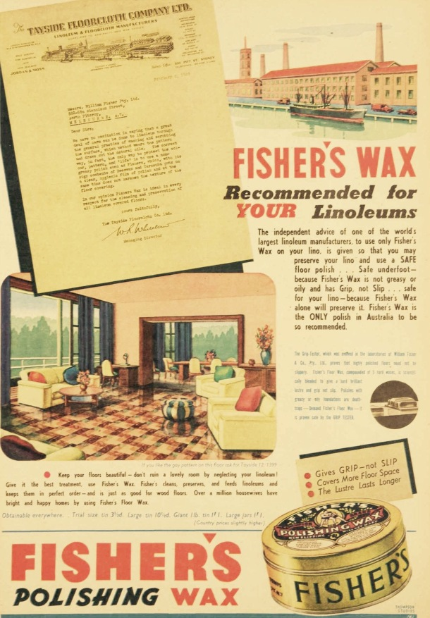 vintage ad for fishers floor wax, 1939