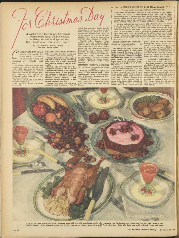 Christmas Day lunch menu 1940s